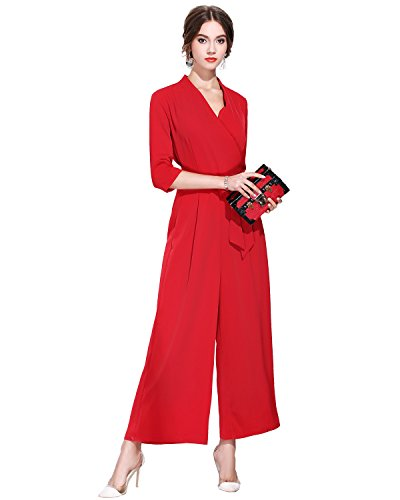 BURDULLY Women's V Neck 3/4 Sleeve Wide Leg tie Jumpsuit with Pocket (XL, Red)