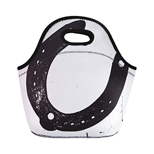 (Semtomn Neoprene Lunch Tote Bag Distress Horseshoe Overlay Vintage Western Black Sketch Old Abstract Reusable Cooler Bags Insulated Thermal Picnic Handbag for Travel,School,Outdoors,Work)