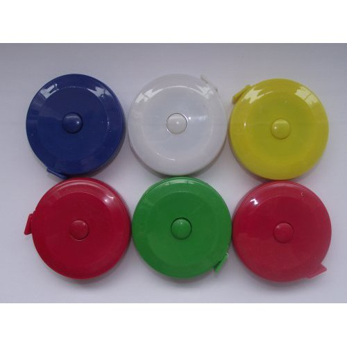 SODIAL(R) Retractable Dressmaker's Tape Measures 60 inch ~ 150cm Assorted Colours (Inch Measure 60 Tape)