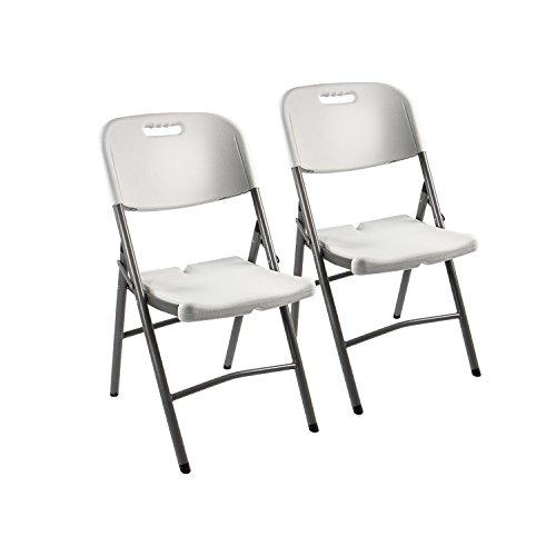 Chaise pliante « Fred » Vanage – le set 2x chaise de jardin pliante pour camping, jardin, terrasse & balcon – pour l'intérieur et l'extérieur - pliable set de 2 en blanc