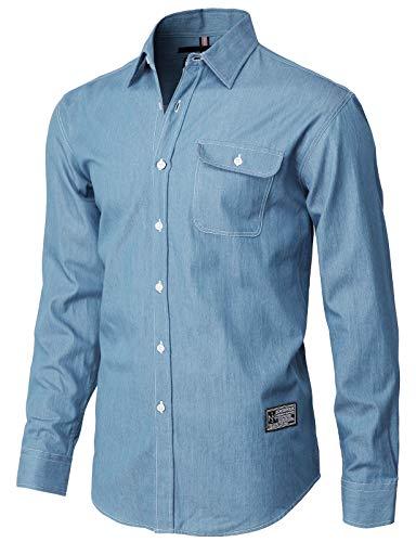 H2H Mens Casual Slim Fit Button Down Dress Denim Shirts Navy US M/Asia L (KMTSTL560) ()