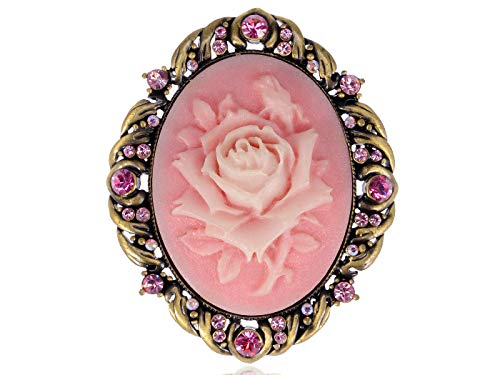 Antique Gold Tone Pink Colored Rhinestones Vintage Rose Cameo Brooch Pin for Women