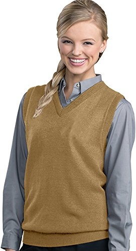 Edwards Garment Women's Performance V Neck Durable Stitch Acrylic Vest (X-Large) - Khaki (Acrylic Performance)