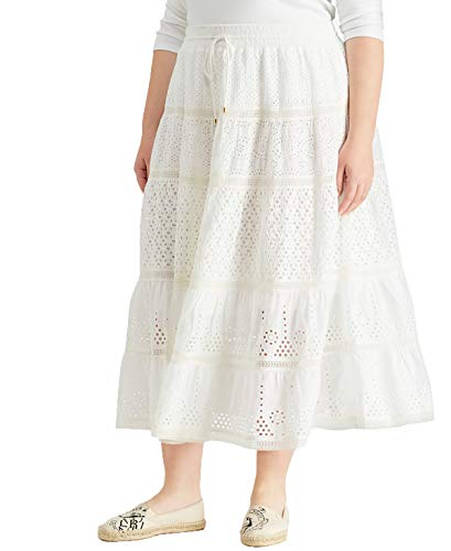 Lauren Ralph Lauren Plus Tiered Eyelet Lace Skirt (3X, White)