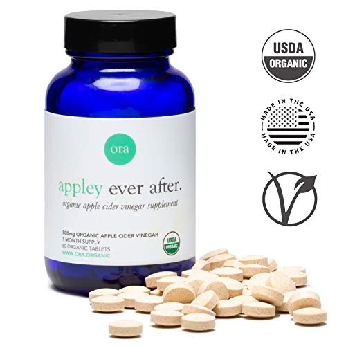 Ora Organic Apple Cider Vinegar Pills - 100% Natural, Organic & Vegan, Detox Cleanse Weight Loss Pills, Appetite Suppressant & Bloating Relief - 60 Tablets