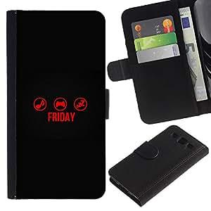 SAMSUNG Galaxy S3 III / i9300 / i747 , la tarjeta de Crédito Slots PU Funda de cuero Monedero caso cubierta de piel (Friday Time)