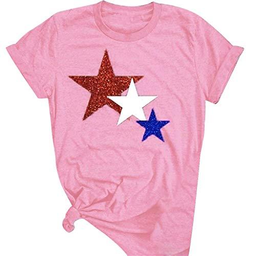 ANJUNIE Women Five Pointed Star Printing T Shirt Short Sleeve O Neck Tops Blouse(Pink,XXXXL)
