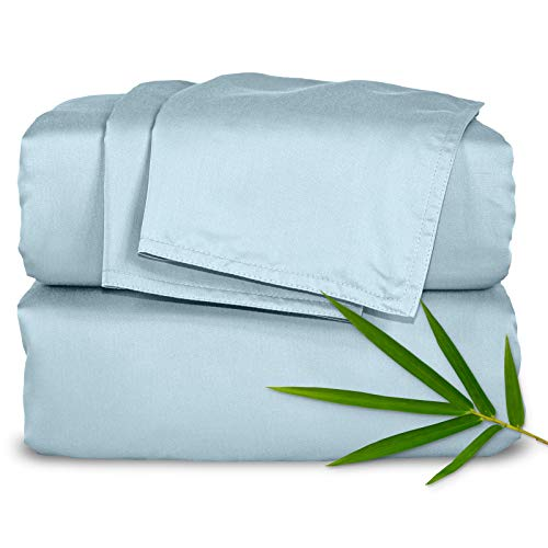 """Pure Bamboo Sheets - King Size Bed Sheets 4pc Set - 100% Organic Bamboo - Breathable Fabric - Fits Up to 16"""" Mattress - 1 Fitted Sheet, 1 Flat Sheet, 2 Pillowcases (King, Sterling Blue)"""