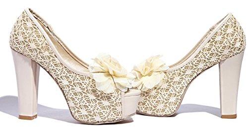 Aisun Escarpins Peep Toe Femme Fleur - Haut Talon Plate-forme Discothèque - Slip Sur Grosses Chaussures Beige