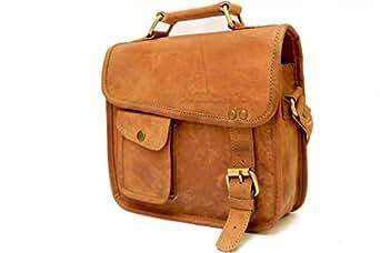 Cross Body Shoulder Messenger Bag For Men Women Brown Leather Unisex Small Bags