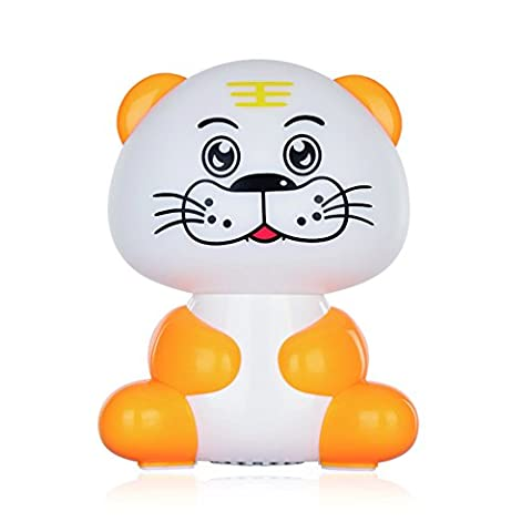 SCS ETC USB Powered Portable Cute Tiger Night Light Speakers with 3.5mm Audio Plug, for Computers, Smartphones, Tablets, Laptops and MP3 (Affinity Technology Speakers)
