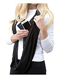 Womens Infinity Scarves Winter Warm Fringed with Zipper Pocket Black One Size