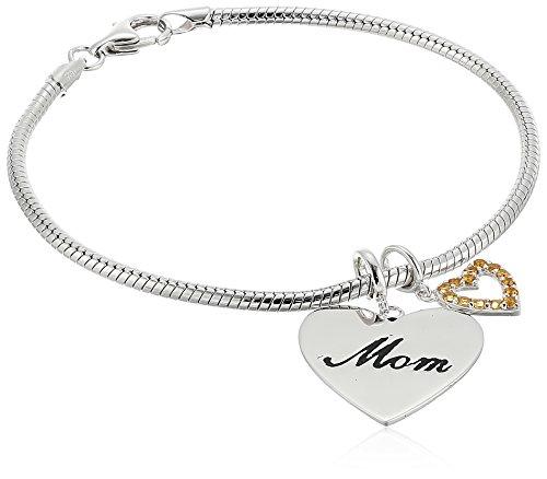 Rhodium Mom Heart Charm - Rhodium Plated Sterling Silver Mom and Citrine Heart Dangled Charm Bracelet, 7