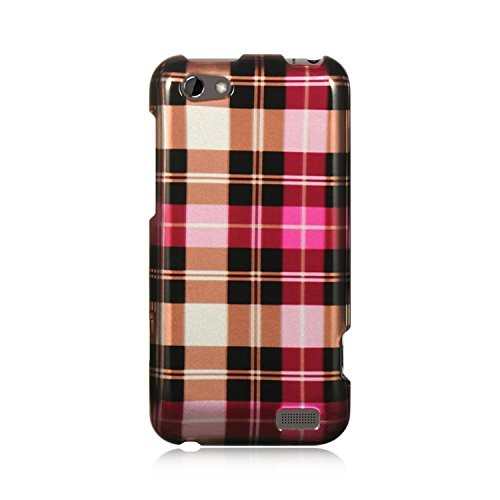 Dream Wireless CAHTCONEVHPCK Slim and Stylish Design Case for HTC One V - Retail Packaging - Hot Pink Checker