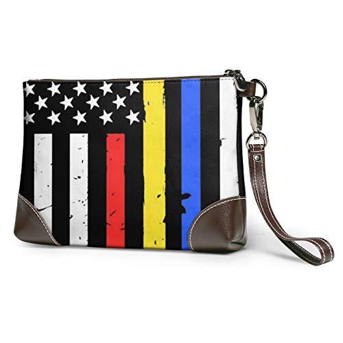 Police Fire Dispatcher Flag Women's Leather Wristlet Clutch Zipper Wallet Case Cellphone Purse Handbag