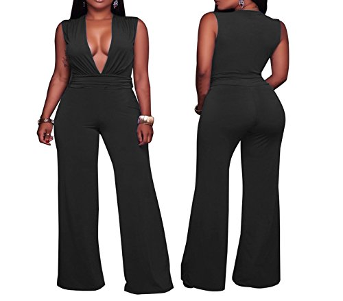 (Rising ON Sexy Fashion Women's tri-Color Loose Deep V Casual Jumpsuit,Small,Black)