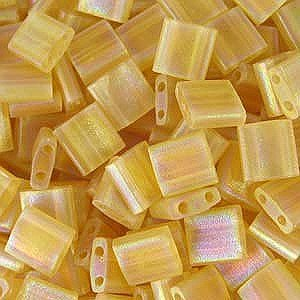 Topaz Light Matte (Light Topaz Ab Transparent Matte Tila Beads 7.2 Gram Tube By Miyuki Are a 2 Hole Flat Square Seed Bead 5x5mm 1.9mm Thick with .8mm Holes)