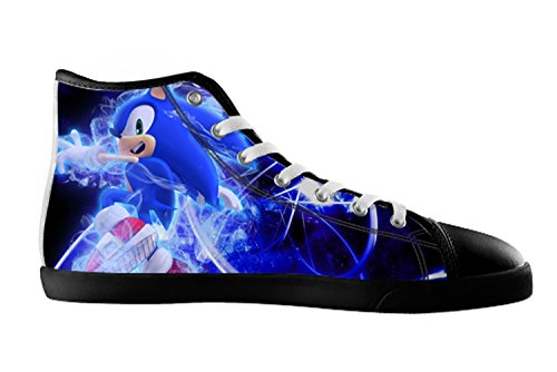 DONGMEN Sonic the Hedgehog Lady Women's Canvas Shoes High Top Lace Up Breathable Sneakers US10 (Sonic The Hedgehog Sneakers)