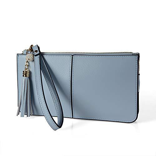 (Befen Soft Leather Wristlet Phone Wristlet Wallet Clutch Tassels Wristlet with Exquisite Tassels/Wrist Strap/Card slots/Cash pocket- Fit iPhone 6 Plus/Samsung Note 5-Powder Blue)