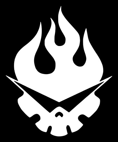 Gurren Lagann Kamina's Flaming Skull Anime Sticker Decal (5''x4'', White)