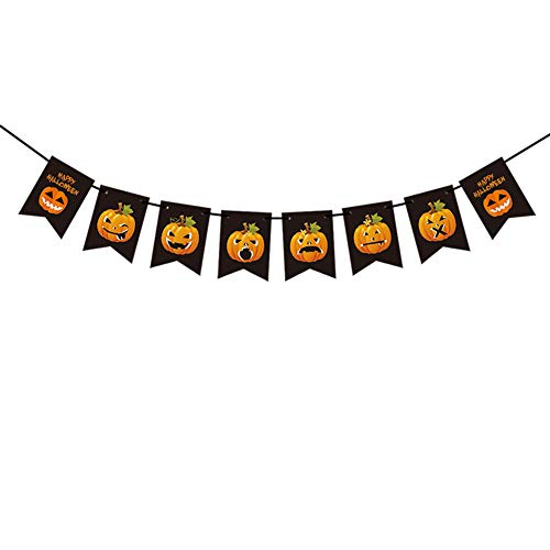 Studyset Colorful Pumpkin Pattern Flag Hanging String Halloween Party Decoration 6 pcs White Toothed Pumpkin 6 Expressions -