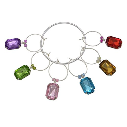 Rosemarie Collection's Colorful Novelty Silver Set of 6 Wine Glass Charms (Square - Macy's Crystal Glasses