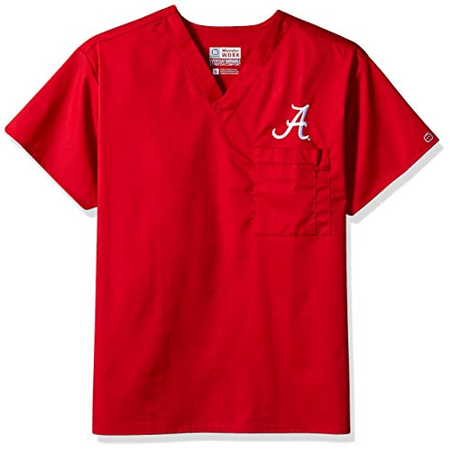 WonderWink Unisex-Adult's University of Alabama V-Neck Top, Cardinal, LG