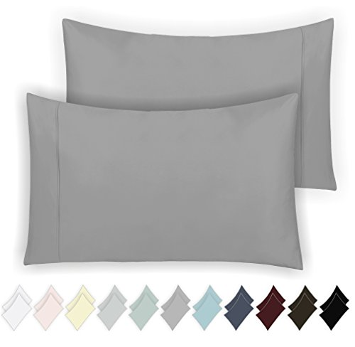 California Design Den 400 Thread Count 100% Cotton Pillow Cases, Smoked Pearl Standard Pillowcase Set of 2, Long - Staple Combed Pure Natural Cotton Pillowcase, Soft & Silky Sateen Weave by - Smoked Design