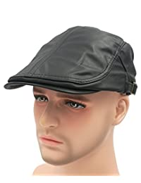 Roffatide Classic Buckle PU Leather Newsboy Cap Driving Flat Cabby Ivy Beret Hat