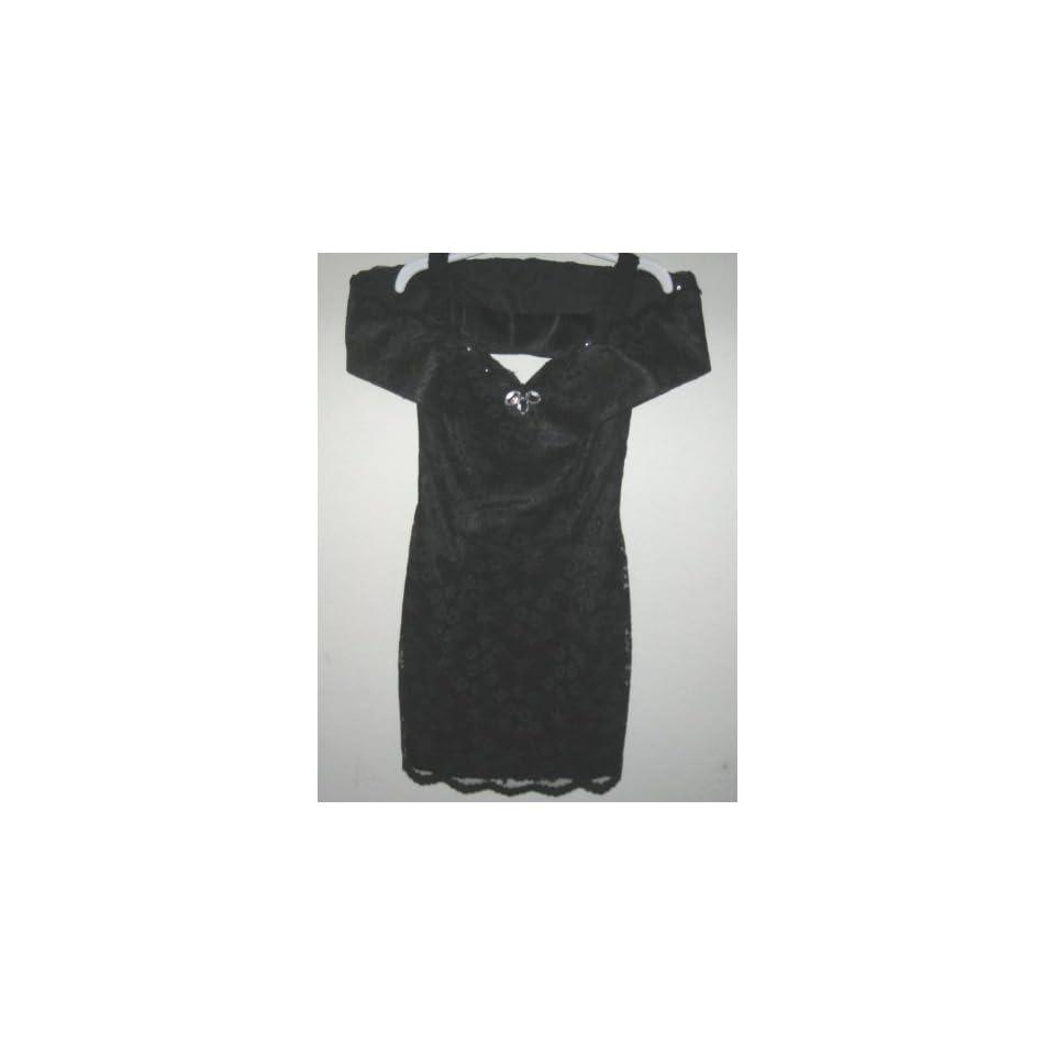 Jessica McClintock Gunne Sax Womens Black Lace Dress Size