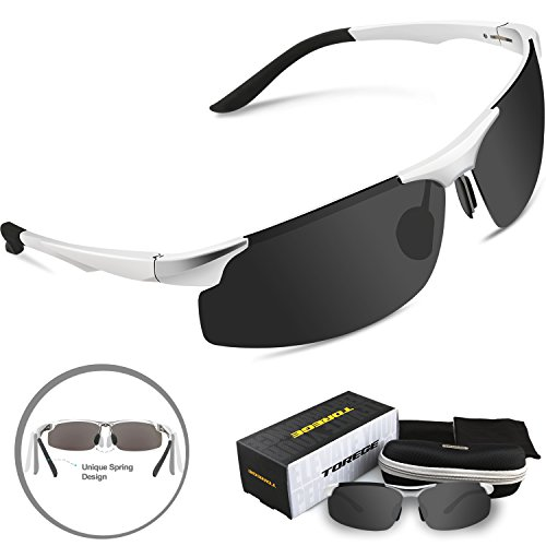 Torege Men's Sports Style Polarized Sunglasses For Cycling Running Fishing Driving Golf Unbreakable Al-Mg Metal Frame Glasses M291 (Sliver&Black Lens)