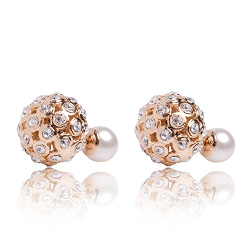 [MISASHA Faux Imitation Pearl Designer Gold Tone Celebrity Double Ball Earrings] (Costume Caviar)