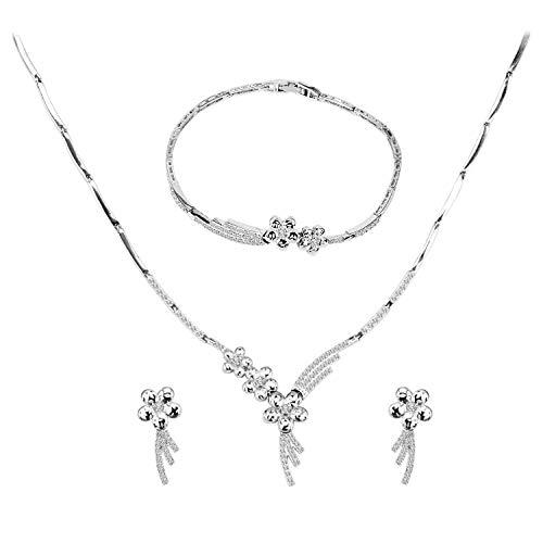 women zircon jewellery party fashion bibeary set pendant necklace