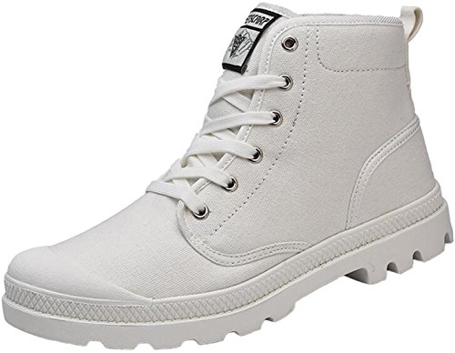 - PPXID Men's High-top Canvas Lace up Sneakers Outdoor Casual Shoes-White 9.5 US Size