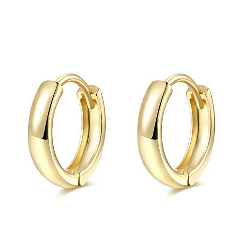 Tiny Cartilage Huggie Hoop Earrings - 2mm Wide Thick Sterling Silver Ear Cuffs - 8mm, Gold