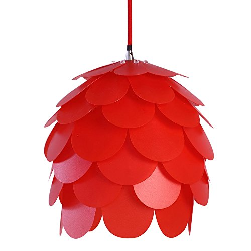 HROOME DIY Kit Pinecone Shape Puzzle Lampshade Suspension Ceiling Pendant Chandelier Light Shade Lamp For Club Living Room Bedroom Study Dining Room Decor Lighting (Red lampshade) - How To Hang Ceiling Lights