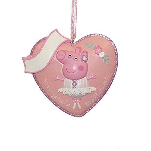 Kurt Adler Fairytale Ballerina Peppa Pig Heart Resin Ornament (Christmas Peppa Pig's)