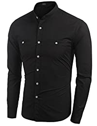 Coofandy Men's Fashion Long Sleeve Stand Collar Pure Color Slim Fit Shirt