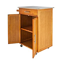 Farmhouse Kitchen LeafRed C Moveable Kitchen Cart with Stainless Steel Table Top & One Drawer & One Cabinet Kicthen Bar Dining Room Tea… farmhouse kitchen islands and carts