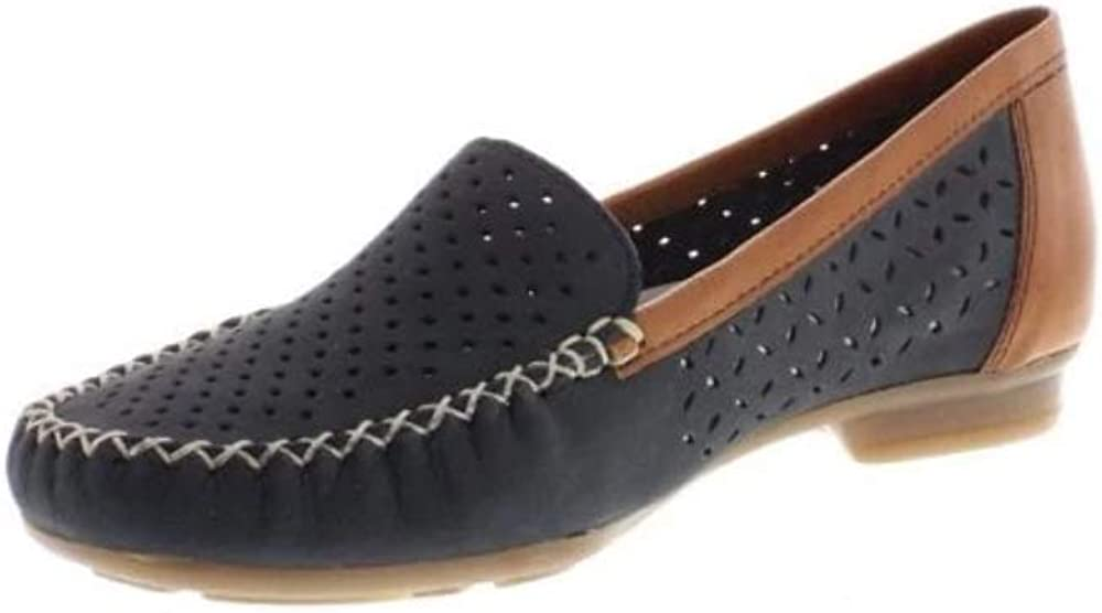 Rieker Peggy Womens Punched Detail Moccasins Pacific Nubuck