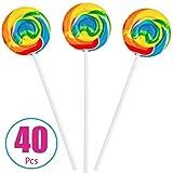 Rainbow Swirl Lollipops - 40 Suckers