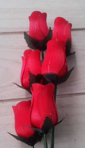 Red Wooden Roses (6 Pack) ()