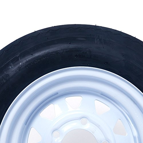 Set of 2 12'' 5 Lug White Bias Trailer Wheels & Rims 5.30-12 Tire Mounted on (5x4.5) bolt circle by Qp-SUNROAD (Image #3)