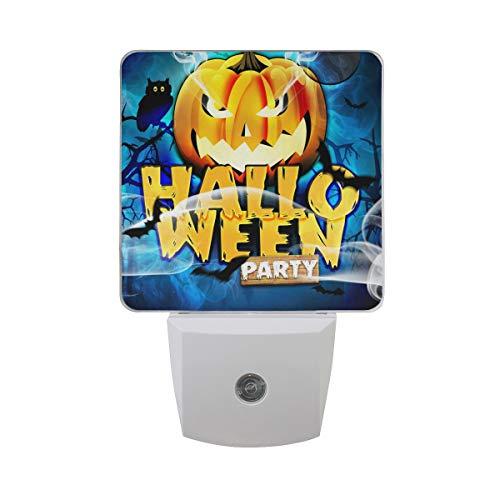 Plug-in Night Light, Template Flyer for Halloween Night LED Nightlight, Dusk-to-Dawn Sensor for Bedroom Bathroom Kitchen Hallway Living Room