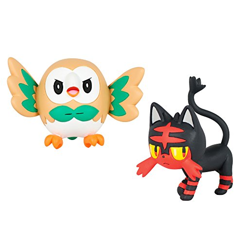 All About Pokemon Figure - Battle Action Figure, Rowlet vs Litten