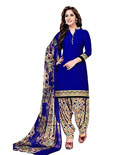Mirraw Abstract Print Crepe Unstitched Salwar Suit/Kameez Dress Material With Dupatta For Womens & Girls – For All Occasion