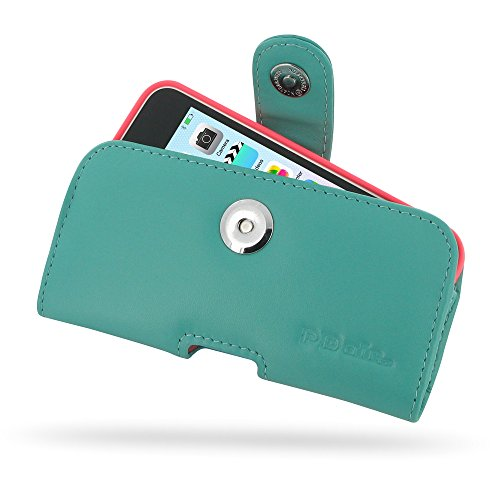 Apple iPhone 5c Leather Case / Cover Protective Carrying Phone Case / Cover in Bumper / Cover (Handmade Genuine Leather) - Horizontal Pouch Case (Aqua) by Pdair