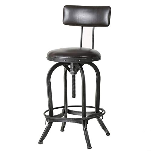 Samthorn Metal Industrial Barstool with Backrest Brown Recast Leather