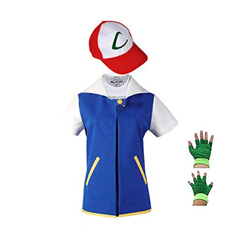 SAIANKE Costume Hoodie Cosplay Jacket Gloves Hat Sets for Trainer, Blue, X-Large