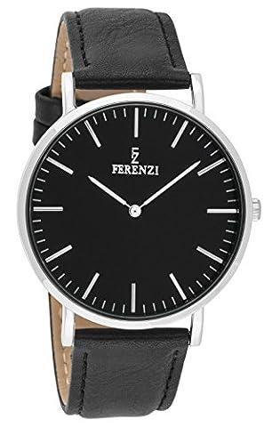 Ferenzi Unisex - FZ18604 - Classic Silver-Tone and Black on Black Leather Watch (Vegan Leather Watch Man)